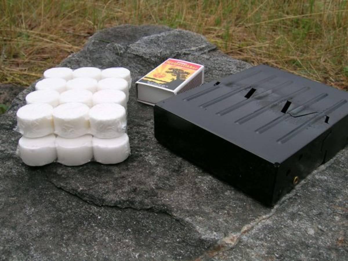 Brensenstativ m/tabletter, kokeapparat for turbruk